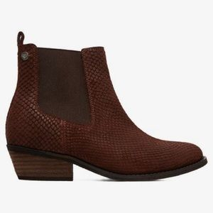 Roxy Karina Leather Ankle Bootie Brown Pullon 6